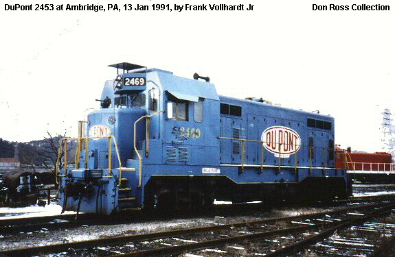 It was sold to General Electric on December 1984 and sold to Blue Mountain  & Reading in January 1985. It was then sold Dupont as 2469 in 1987.